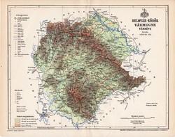 Belovár - Körös vármegye térkép 1896 (2), lexikon melléklet, Gönczy Pál, 23 x 30 cm, megye, Posner