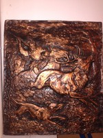 Domború vadászjelenetes fali kép kutyával, szarvassal