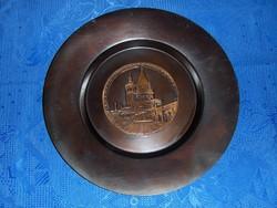 1980. 50 éves MSZMP párttagságért adományozott impozáns réz fali tányér Halász-bástya dombormű -19/d