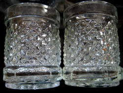 Vintage gyémántmintás gyertyatartó ,kínáló, pohár pár