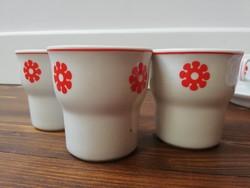 Retro virágmintás hollóházi porcelán kávés csésze és tejszínkiöntő 4db-s