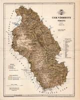 Csík vármegye térkép 1893 (3), lexikon melléklet, Gönczy Pál, 23 x 29 cm, megye, Posner Károly