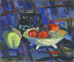 Böhm Lipót POLDI festőművész, KÉK asztalterítő ,olaj festmény 60x50 cm.