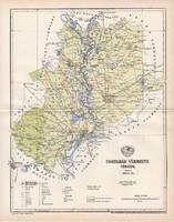 Csongrád vármegye térkép 1896 (4), lexikon melléklet, Gönczy Pál, 23 x 30 cm, megye, Posner Károly