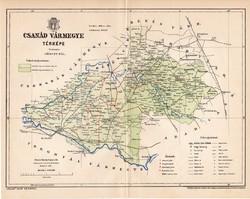Csanád vármegye térkép 1893 (1), lexikon melléklet, Gönczy Pál, 23 x 29 cm, megye, Posner Károly