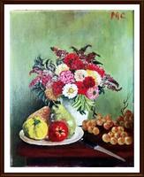 Gyönyörű, art deco stílusban megfestett, jelzett olajcsendélet