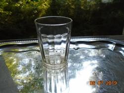 Antik vendéglátóipari kicsit homályos bordázott jelzett pohár