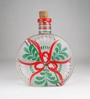 0X607 Régi trikoloros üveg kulacs 16.5 cm