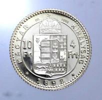 1892 Ferenc József 4 Forint Limitált ÁPV ezüst utánveret, csak 24 db-os Tanúsítvány van!
