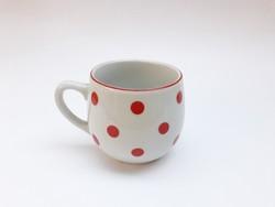 Drasche - Kőbánya Porcelán pöttyös bögre - csupor formájú kakaós csésze