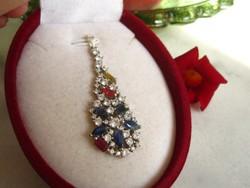 Pompás, pazar zafír ezüst medál rubin és citrin kővel
