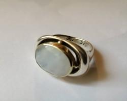 Izraeli kézműves ezüst gyűrű 9 K arannyal,fazettált holdkővel
