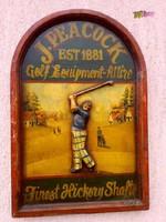 Antik festett reklámtábla domborműves faragvánnyal, J. Peacock Golf Equipment 1881, keretezve.