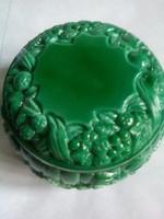 Régi Cseh BOHEMIA üveg, gyönyörű malachit zöld szinnel, akár ékszer tartó nak!