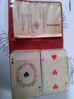 Pasziánsz mini kártya (franciakártya) műbőr tokban 1960-70