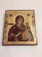 Antik 19.sz orosz fa ikon tűz aranyozasal