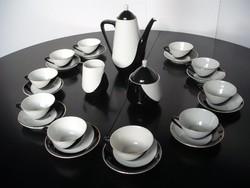 Hollóházi porcelán fekete-fehér op-art mintás kávéskészlet 10 személyre