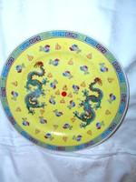 Kínai sárkány motívummal kézzel festett dísztányér 25,5  cm