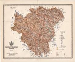 Sáros vármegye térkép 1897 (2), lexikon melléklet, Gönczy Pál, 23 x 28 cm, megye, Posner Károly