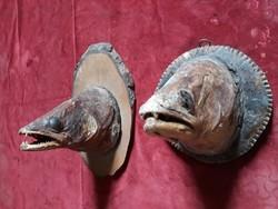 Jópofa lakás dísz lehet régi preparált halfejek hal kép plakett