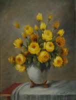Mesterházy Dénes: Sárga rózsás csendélet