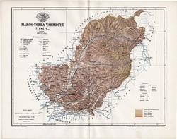 Maros - Torda vármegye térkép 1895 (1), lexikon melléklet, Gönczy Pál, 23 x 30 cm, megye, Posner K.