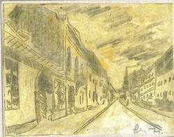 Úri utca, a budai várban - Lehoczky József - ceruzarajz, papíron, sárga akvarellel átlavírozva