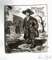 Csavargó - Lehoczky József, 1980-as évek -  lavírozott tusrajz, papír /25 x 17,5 cm/  t