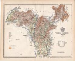 Nyitra vármegye térkép 1896 (4), lexikon melléklet, Gönczy Pál, 23 x 28 cm, megye, Posner Károly