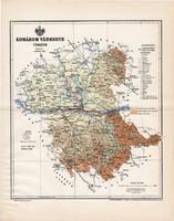Komárom vármegye térkép 1897 (4), lexikon melléklet, Gönczy Pál, 23 x 29 cm, megye, Posner Károly