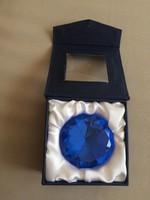 Hatalmas kék üveggyémánt,díszdobozban,dekoráció