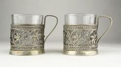 0X706 Régi ezüstözött filigránozott pohár pár