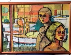 Velényi Rudolf : Kikötőben Modern Festmény