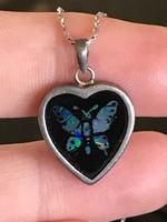 Szépséges ezüst nyaklánc rejtett opál pillangó berakással