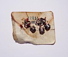 3 db. 800-as régi ezüst csiszolt köves, csavaros fülbevaló