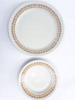 2 db Alföldi porcelán tányér - lapostányér és desszertes tányér - kőedény tömörségűek