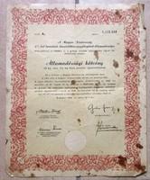 Magyar Köztársaság Államadóssági kötvény Bp.1946 július 1. Búzakötvény 10 kg.4% kamatozó