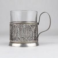 0X712 Régi ezüstözött filigránozott pohár