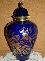 Royal KPM nagyméretű kobalt kék urna váza.