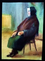 """D.ÉBNER Lajos - Antik  kvalitásos festmény- """" Idős űlő néni"""""""