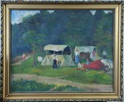 """Ismeretlen festő: Táborozó cigányok, """"MG""""? 1930"""