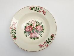 Gránit Kispest rózsakosaras falitál - népi falidísz, paraszt tányér