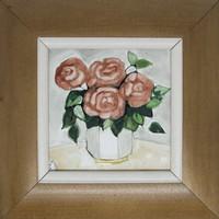 """Fehér Margit """"Rózsák vázában"""" című keretezett tűzzománc ingyenes postázással eladó"""