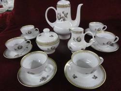 Kahla német porcelán kávéskészlet, 15 darabos, hófehér alapon barna virágminta.