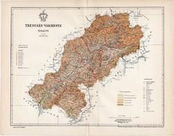 Trencsén vármegye térkép 1897 (3), lexikon melléklet, Gönczy Pál, 23 x 29 cm, megye, Posner Károly