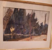 Mende Gusztáv  soproni festmény park részlet Sopron.