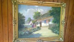 Miklósvölgyi Zs.Beszélgetők o.,v.,jjl.remek festmény csodás blondel kerettel-akciós áron !