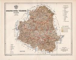 Szolnok - Doboka vármegye térkép 1897 (3), lexikon melléklet, Gönczy Pál, 23 x 30 cm, megye, Posner