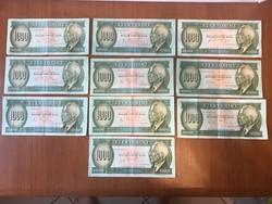 1000 forint  10 db,  Eredeti tartás!!