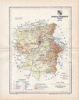Ugocsa vármegye térkép 1897 (6), lexikon melléklet, Gönczy Pál, 23 x 29 cm, megye, Posner Károly